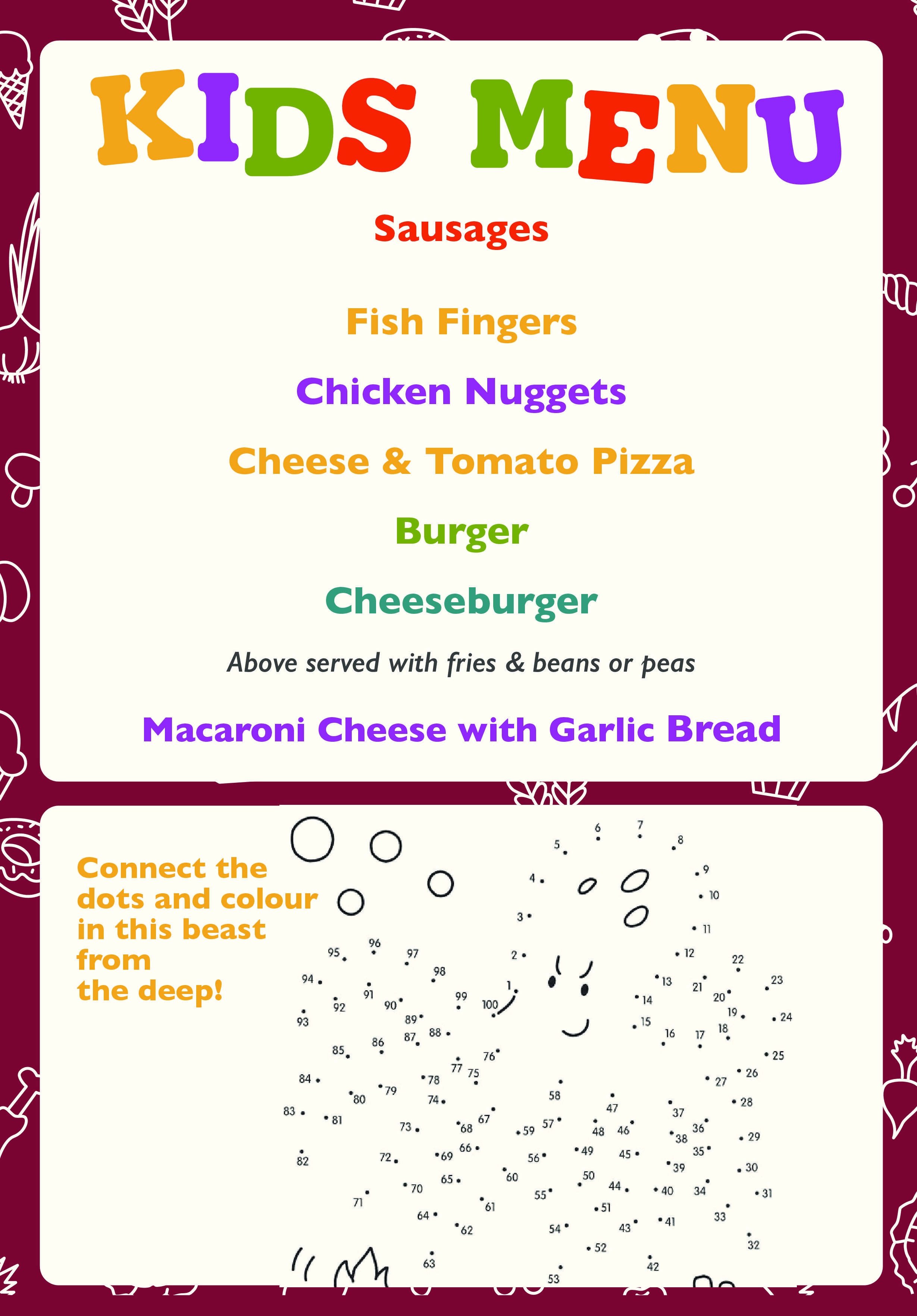 Kids childrens menu pub food