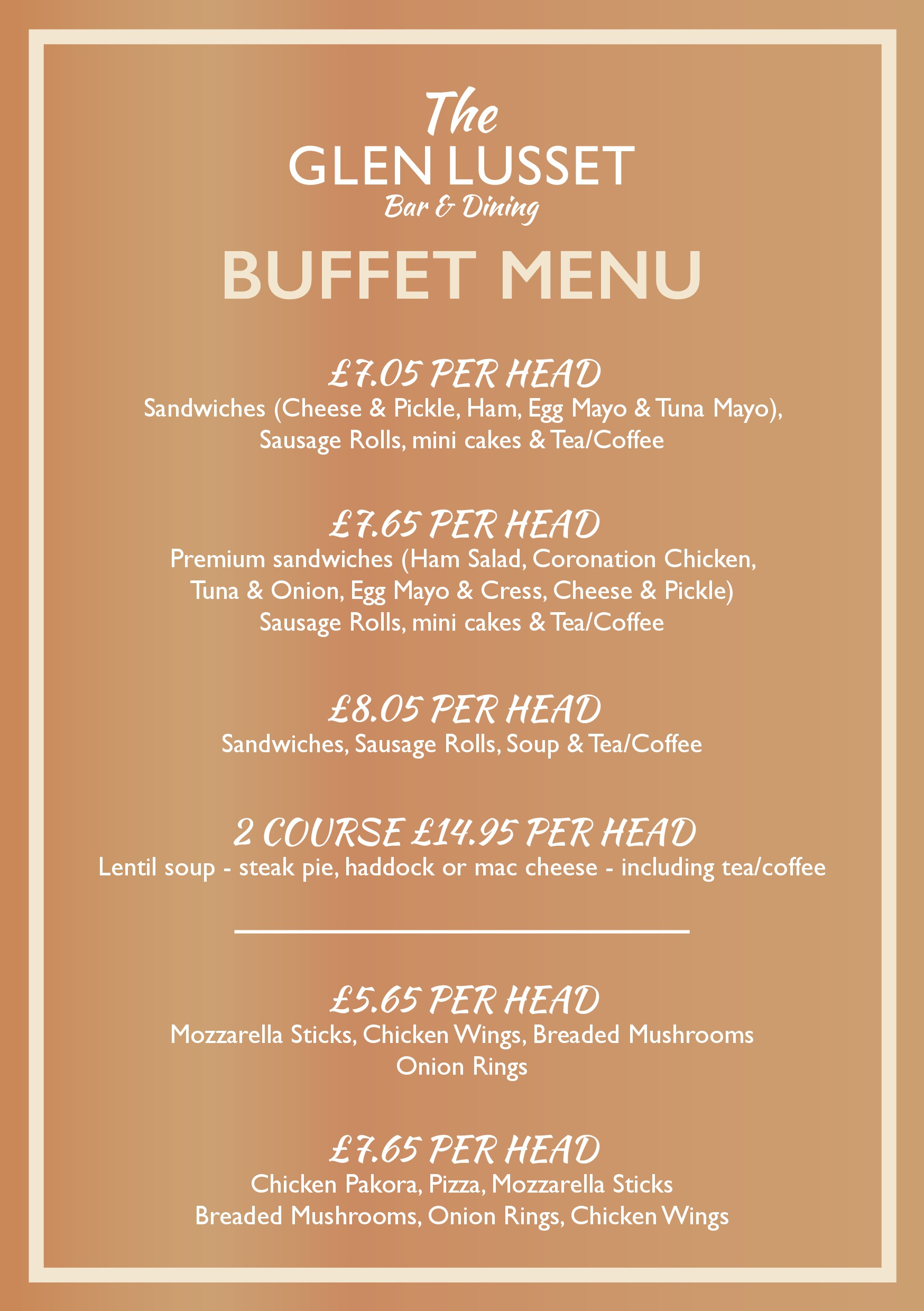 buffet menu family parties weddings funerals anniversaries christenings pub food